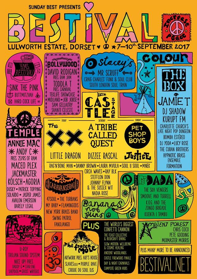 Bestival Festival lineup poster 2017