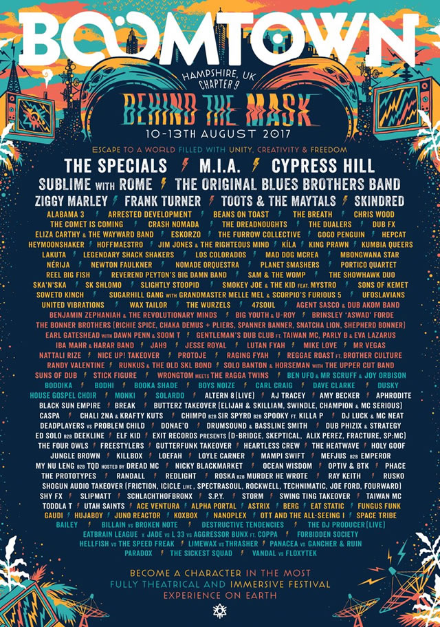 Boomtown festival lineup 2017